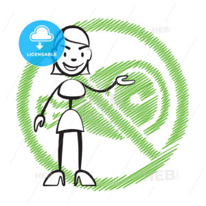 Stick figure woman without meat symbol - Hebstreits