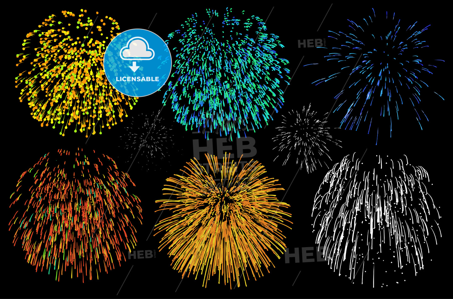 Stickman fireworks on black - HEBSTREIT's Sketches