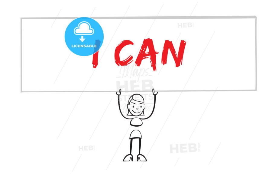 Stickman holding poster with inscription I can - HEBSTREIT's Sketches