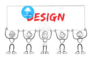 Stickman holding sign with inscription design - Hebstreits