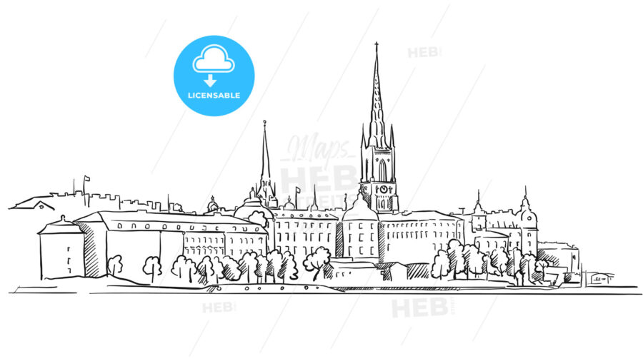 Stockholm Panorama Famous Outline Landmark Sketch - Hebstreits
