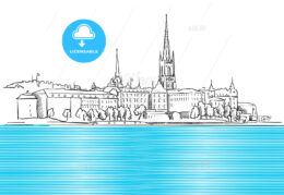Stockholm Panorama with blue Water Sketch