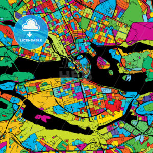 Stockholm, Sweden, Colorful Vector Map on Black - HEBSTREIT's Sketches