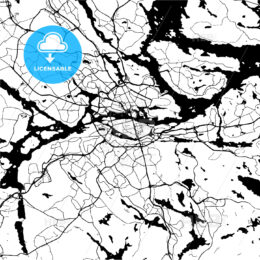 Stockholm, Sweden, Monochrome Map Artprint Template