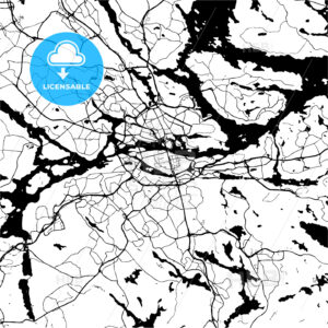 Stockholm, Sweden, Monochrome Map Artprint - HEBSTREIT's Sketches