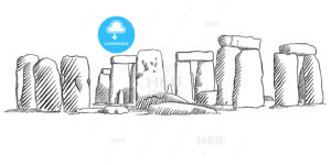 Stonehenge, England Historical Monument Sketch - Hebstreits
