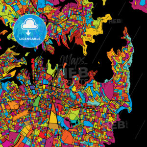 Sydney Colorful Vector Map on Black - HEBSTREIT's Sketches