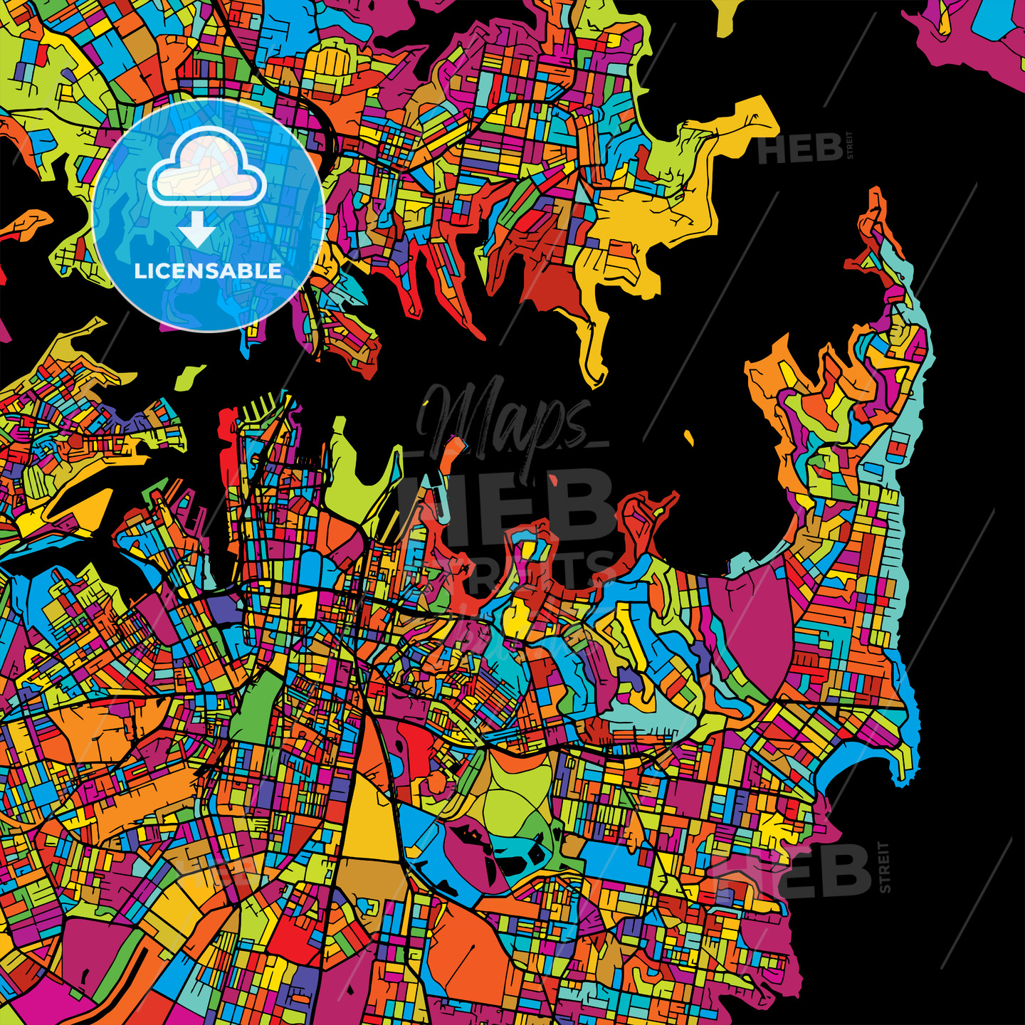 Sydney Colorful Vector Map on Black - Hebstreits