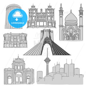 Tehran Famous Buildings, Outline Sketch - Hebstreits