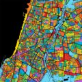 Tel Aviv-Yafo Colorful Vector Map on Black - Hebstreits
