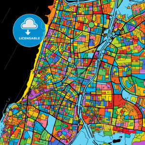 Tel Aviv-Yafo Colorful Vector Map on Black - HEBSTREIT's Sketches