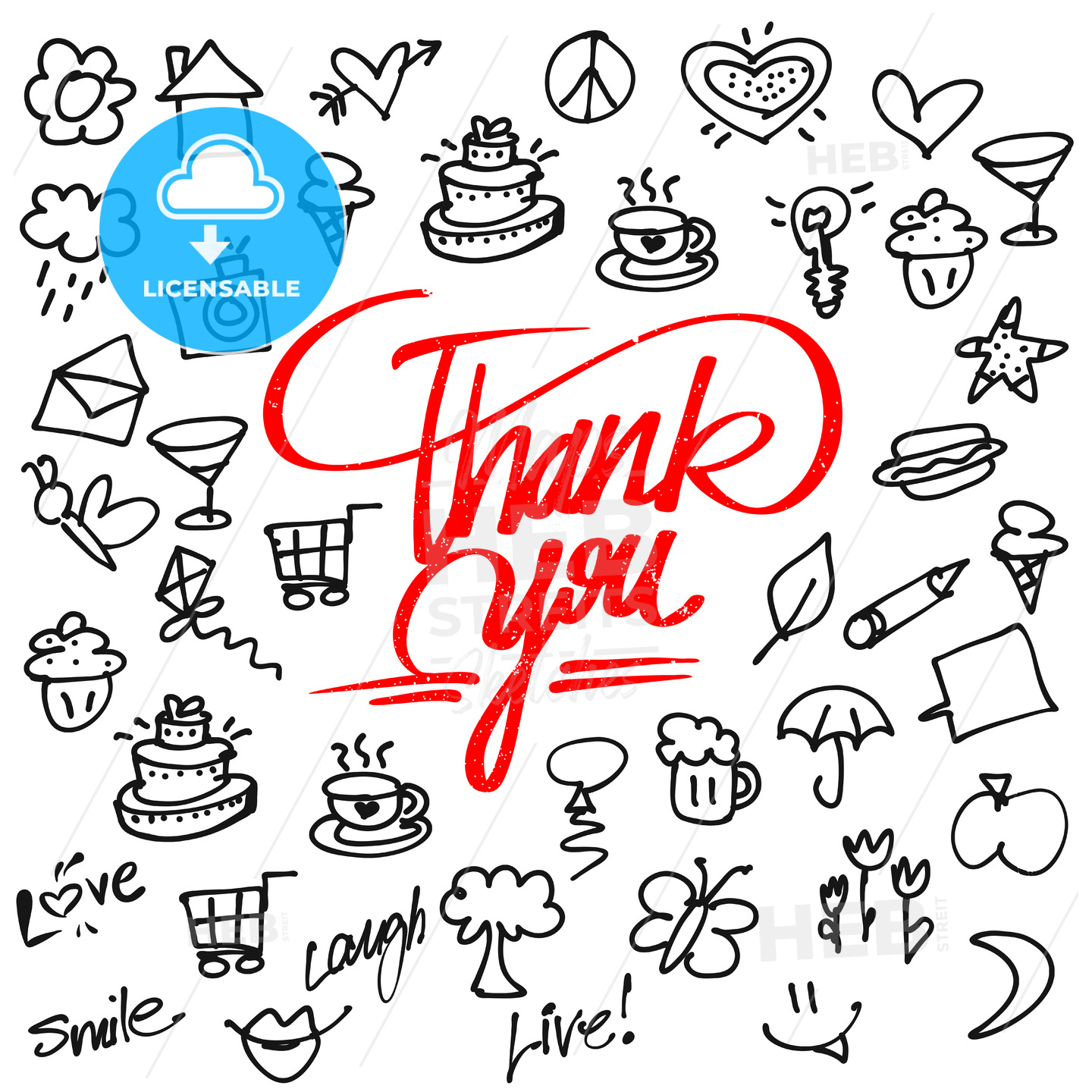 Thank you letter Typo and Icons - Hebstreits