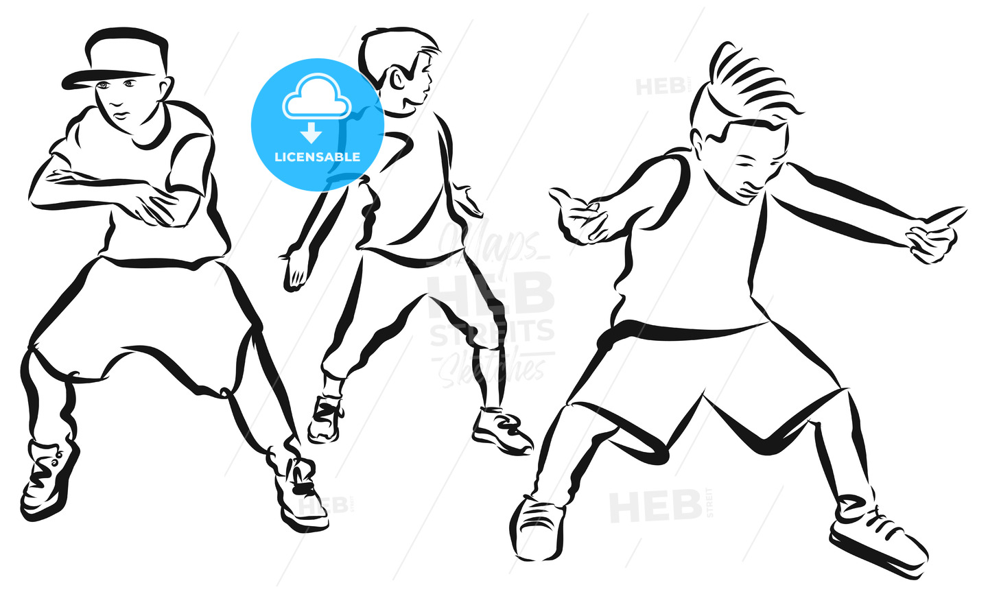 three boys coloring page hip hop choreography hebstreits