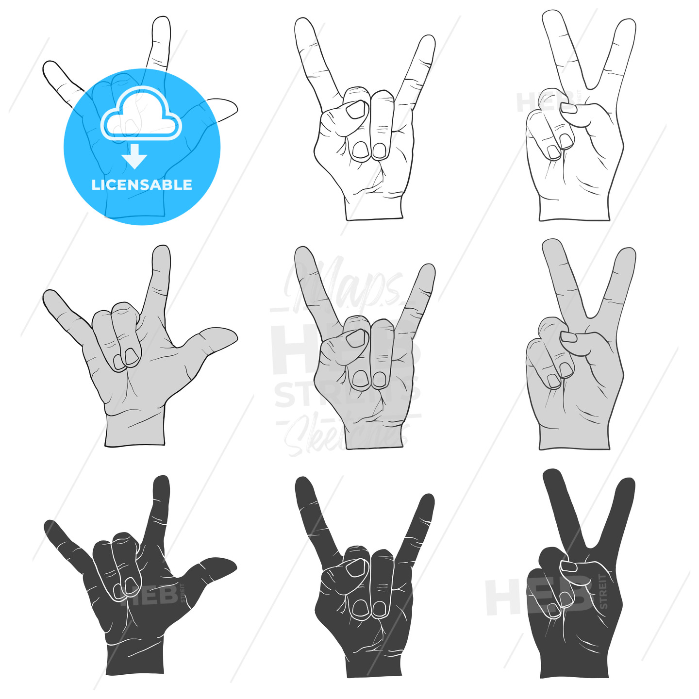Three Hand Signs Gestures Outline and Filled - Hebstreits