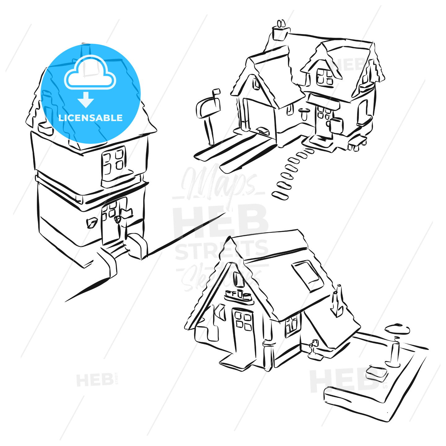 Three Houses Sketch Miniature Doodles - Hebstreits