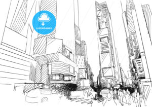 Time Square, New York City. Hand-drawn Vector Outline Sketch - Hebstreits