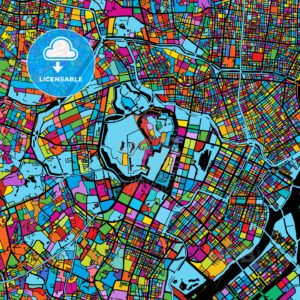 Tokyo, Japan, Colorful Vector Map on Black - HEBSTREIT's Sketches