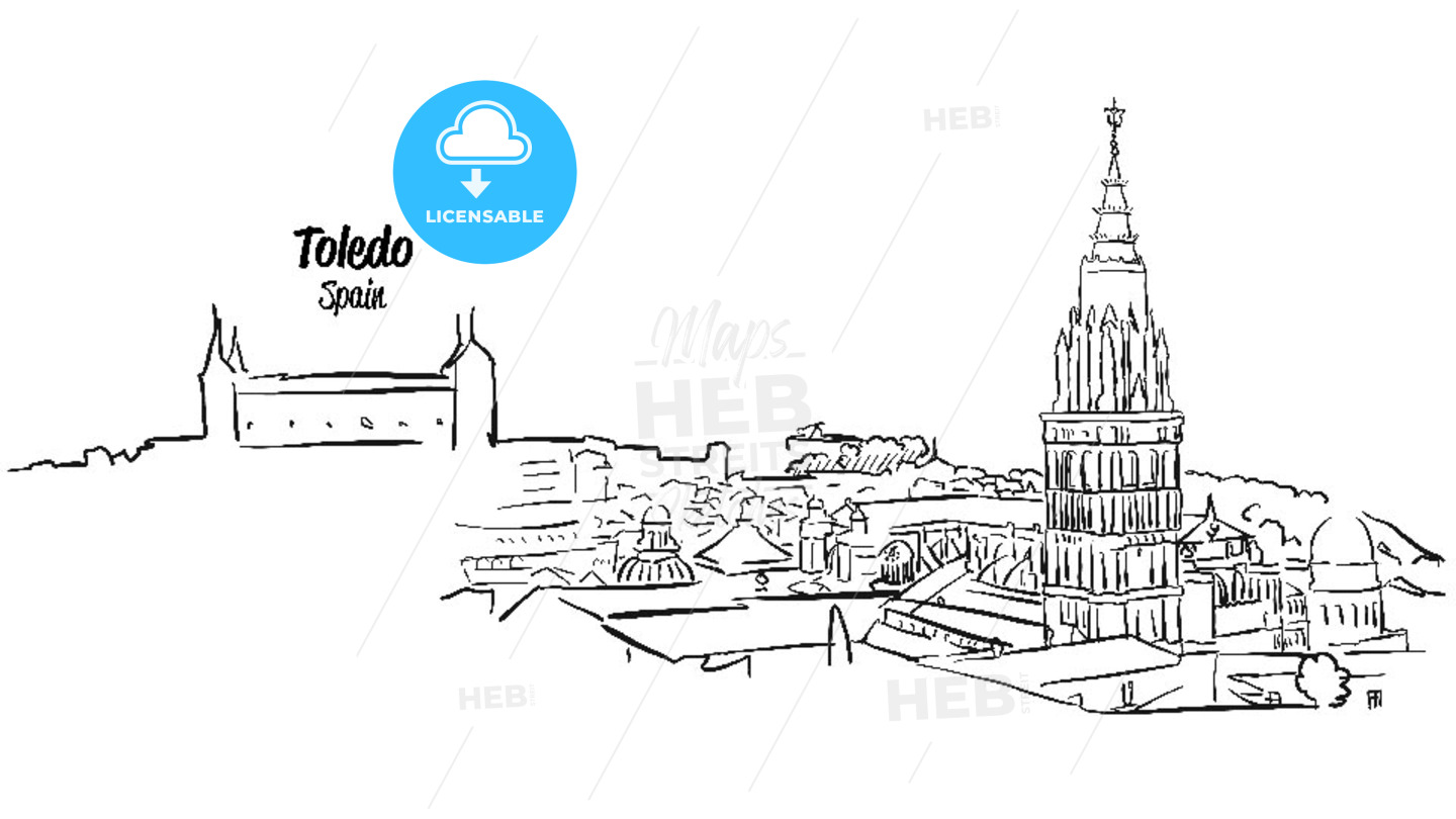 Toledo Ancient Skyline Panorama Sketch - Hebstreits