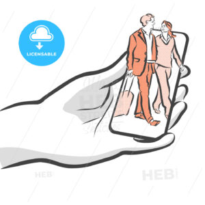 Travel People On Smartphone Concept App Design - Hebstreits