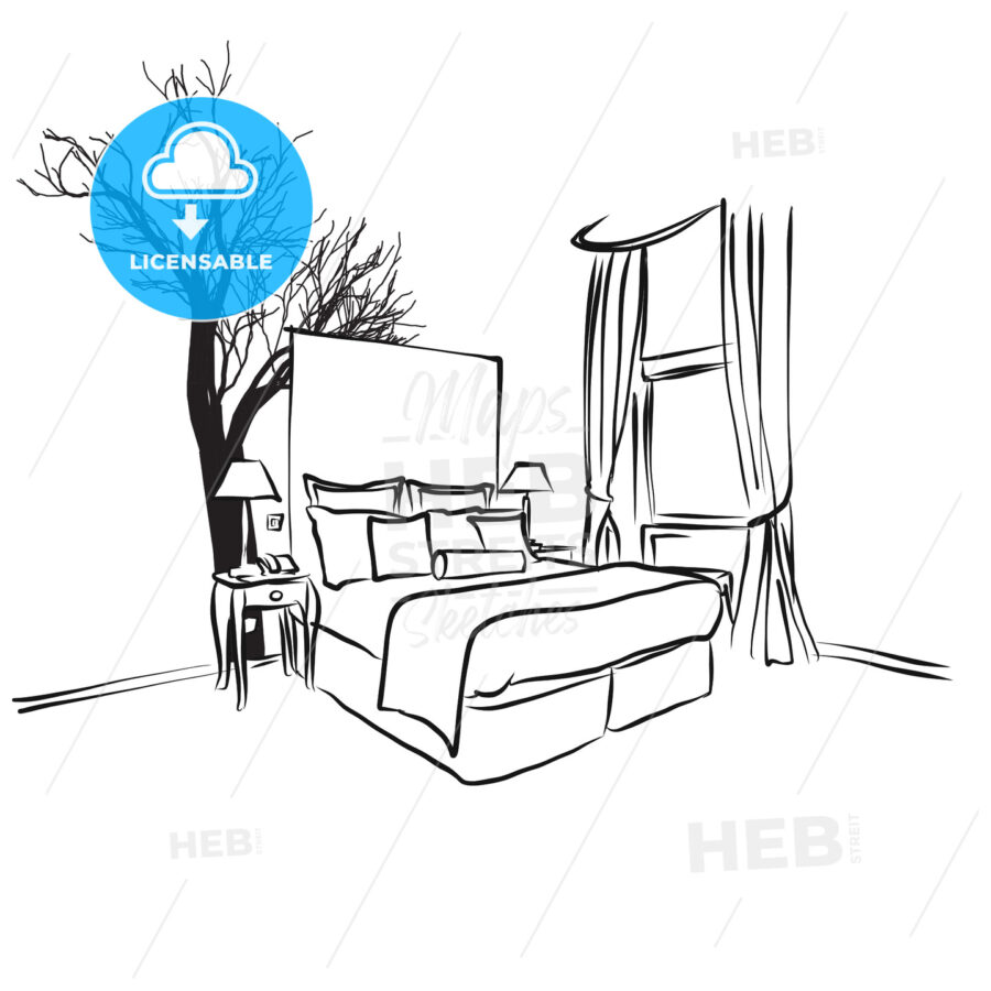 Tree and Furniture in Hotel Room Concept - Hebstreits