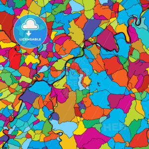 Trier, Germany, Landmark, Colorful Vector Map on Black - Hebstreits