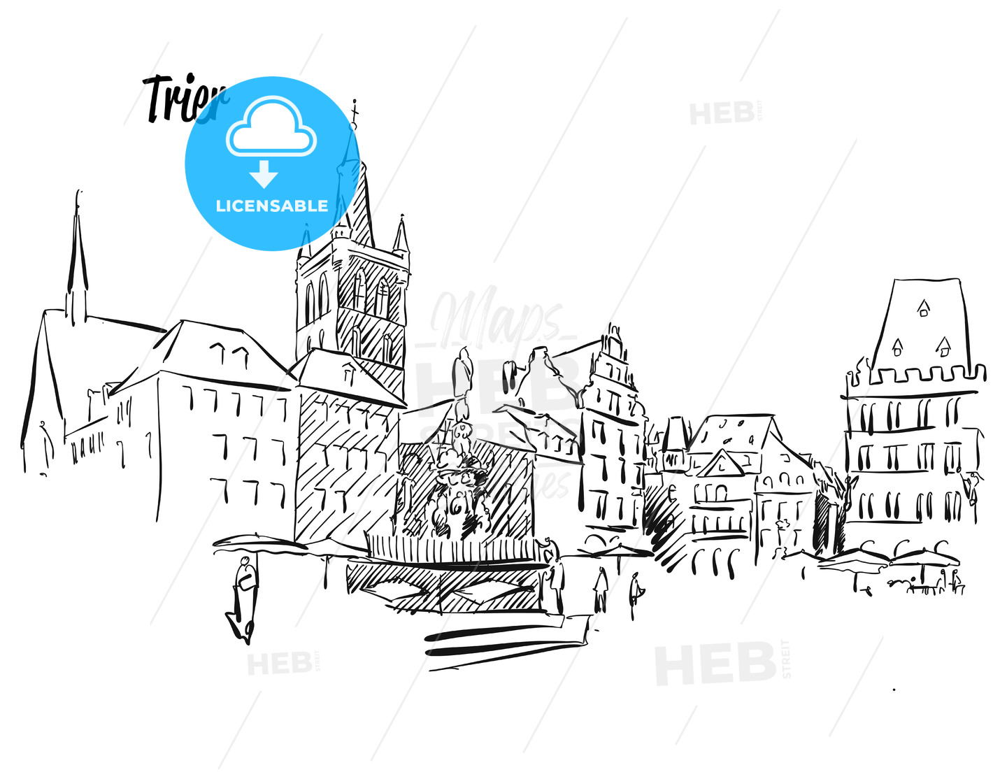 Trier Market Square Outline Sketch - Hebstreits