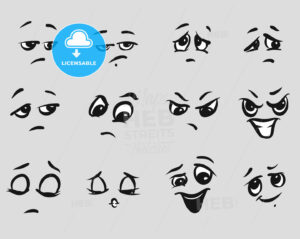 Twelf Angry Cartoon Expressions Faces - Hebstreits