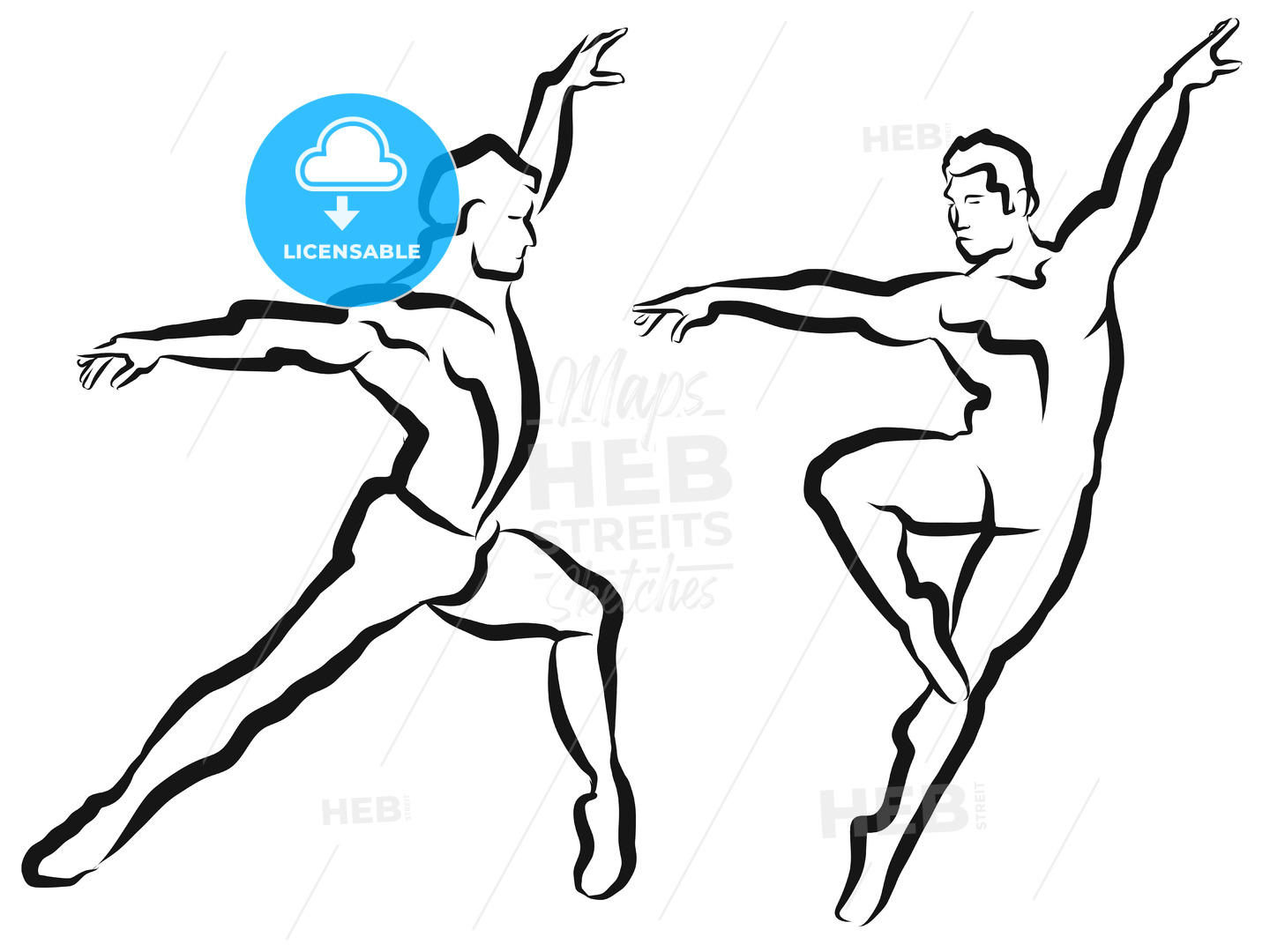 Two Dancer Outline Silhouette Sketch - Hebstreits