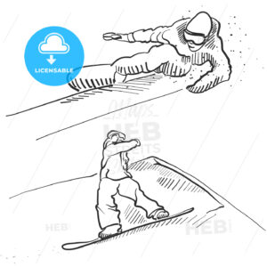 Two Snowboarder Jumping Situation Sketches - Hebstreits