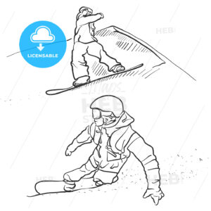 Two Snowboarder lifestyle Scribble Sketches - Hebstreits