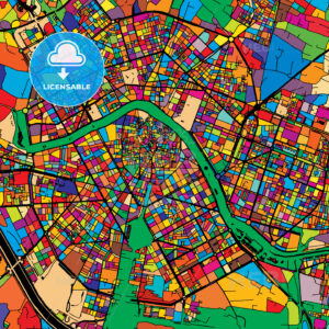 Valencia Colorful Vector Map on Black - HEBSTREIT's Sketches