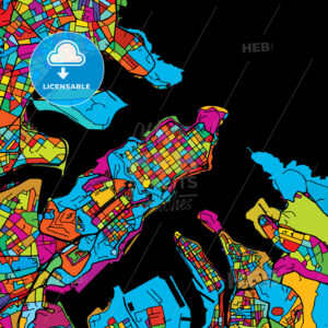 Valetta, Malta, Colorful Vector Map on Black - Hebstreits