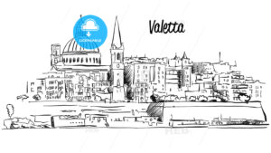 Valetta, Malta. Panorama Waterfront Outline Vector Sketch - Hebstreits