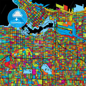 Vancouver Canada, Colorful Vector Map on Black - HEBSTREITS