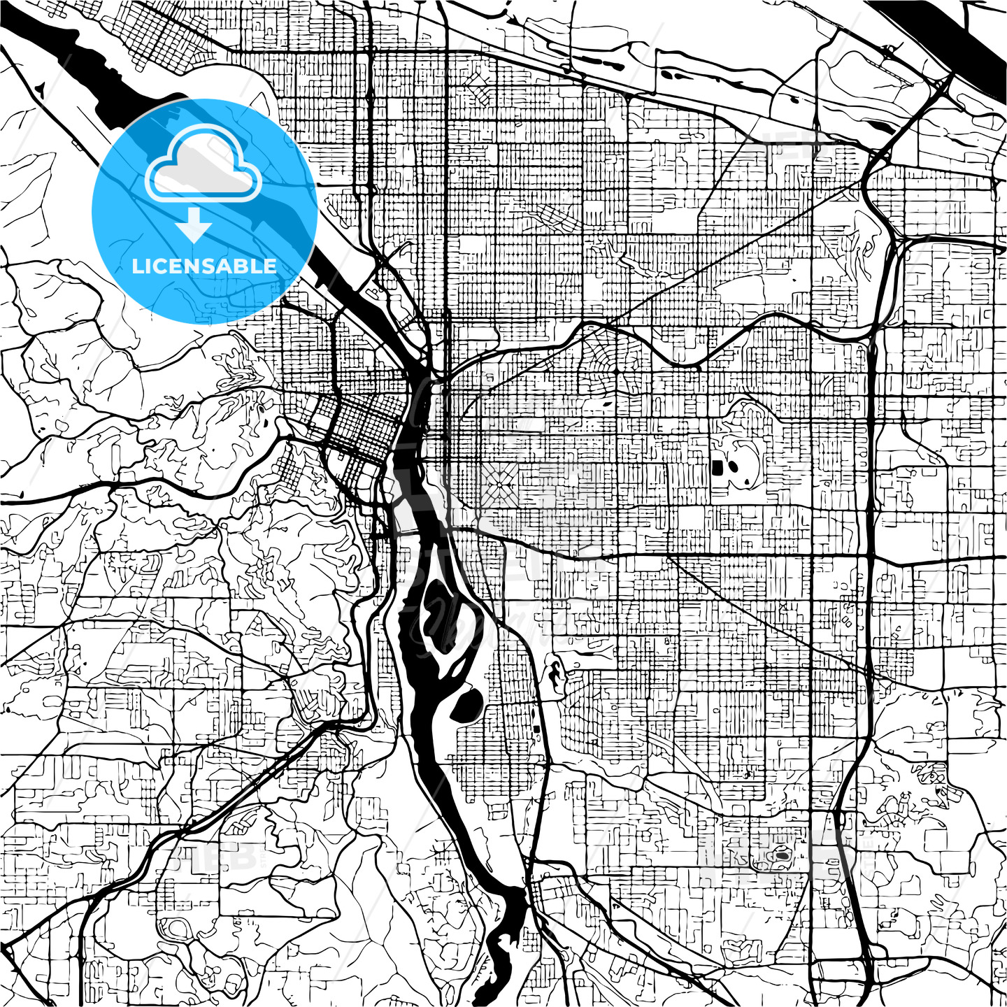 Vancouver Canada, Monochrome Map Artprint - HEBSTREITS