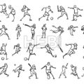 Various Ball Game Motion Sketch Studies Set - Hebstreits