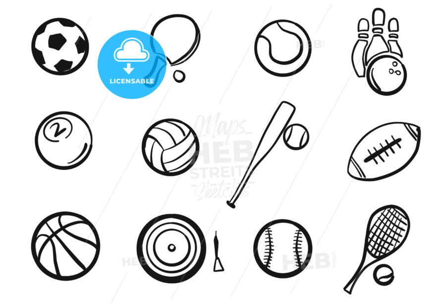 Various Balls Sports Equipment Sketched Set - Hebstreits