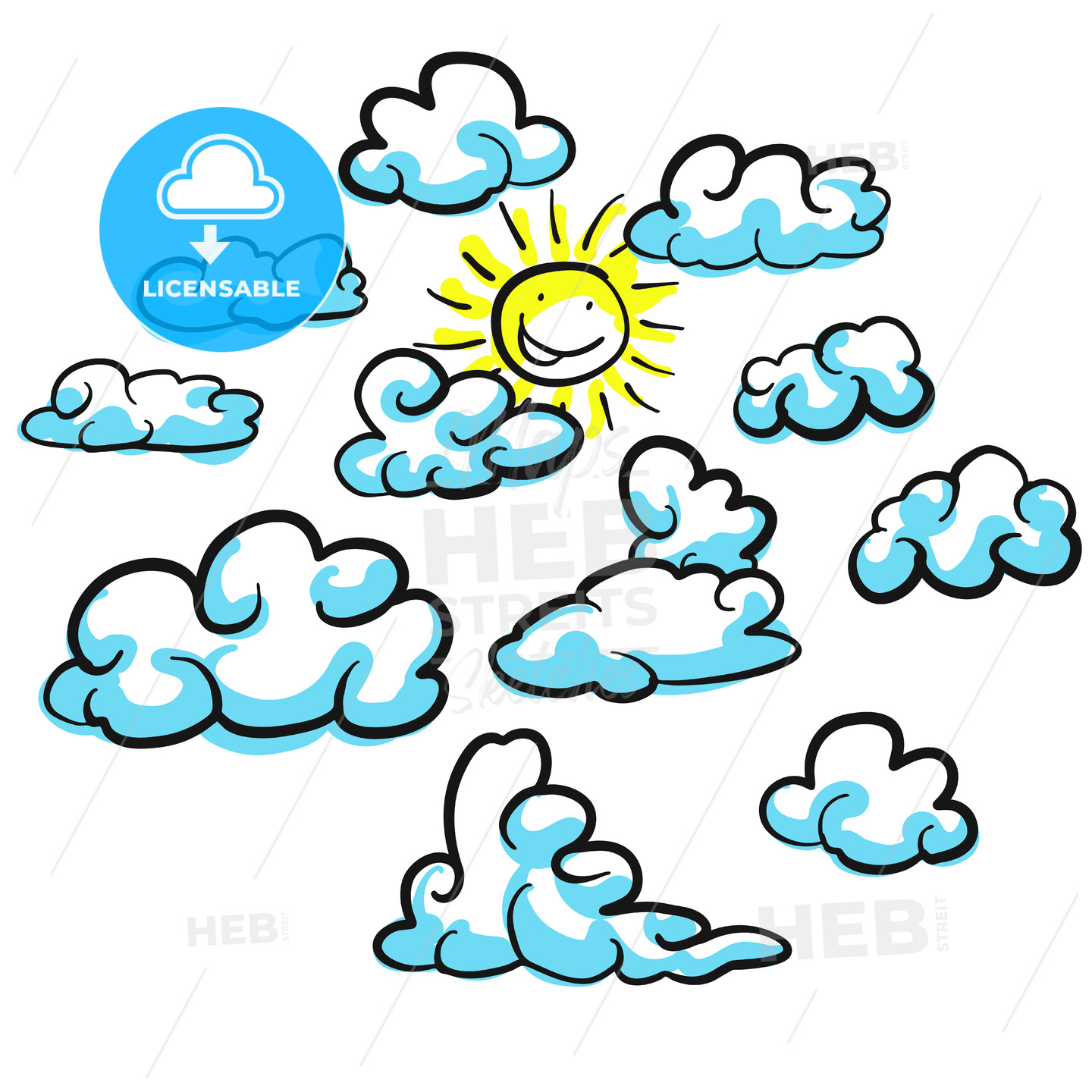 Various cloud shapes vector sketches with sun - Hebstreits