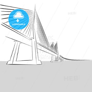 Vector hand-drawn Oresund Bridge, Sweden - Hebstreits