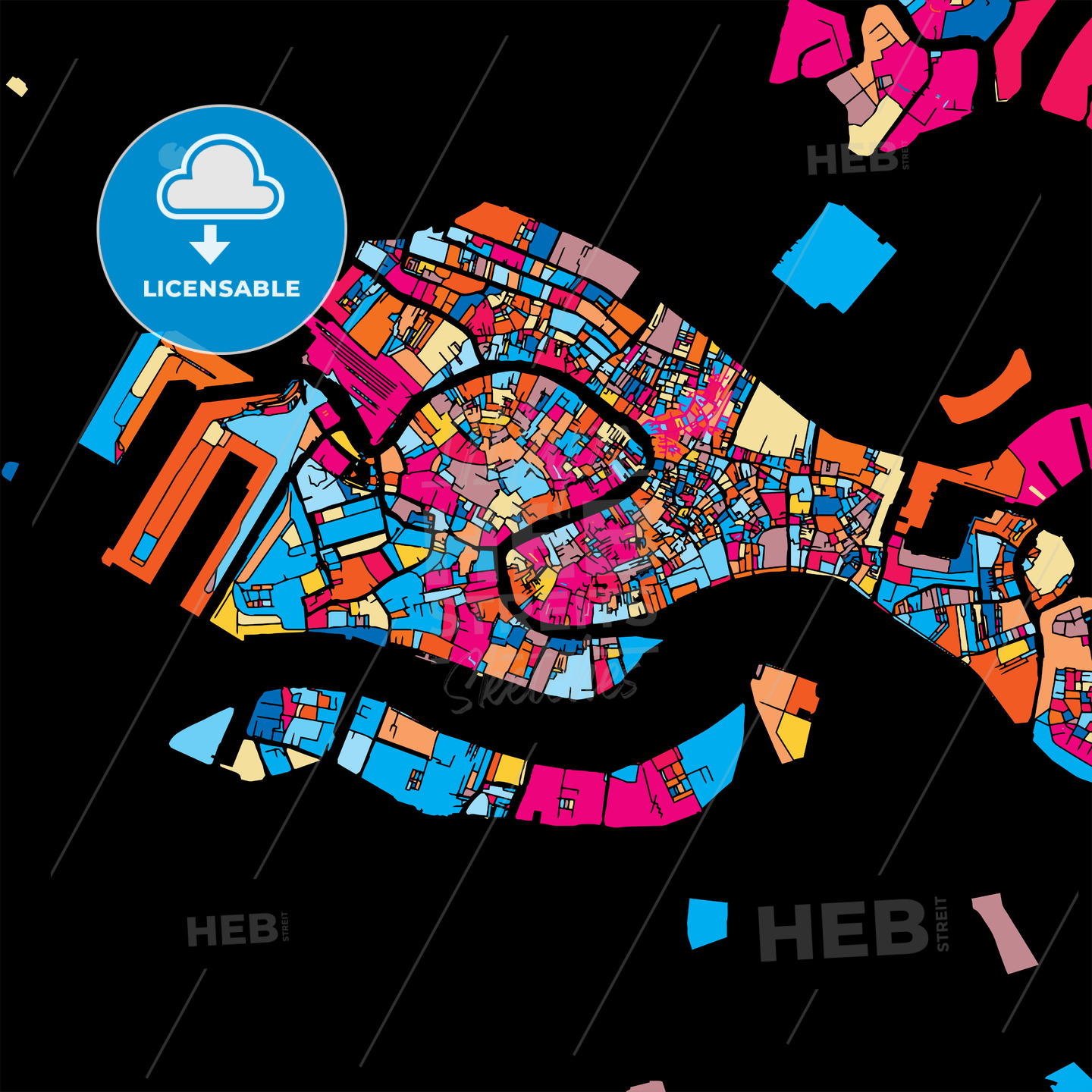 Venice Colorful Vector Map on Black - HEBSTREIT's Sketches