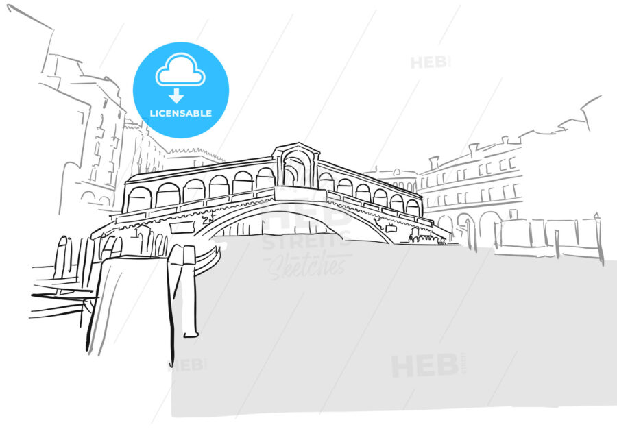 Line Drawing Venice : Venice greeting card rialto bridge drawing hebstreits