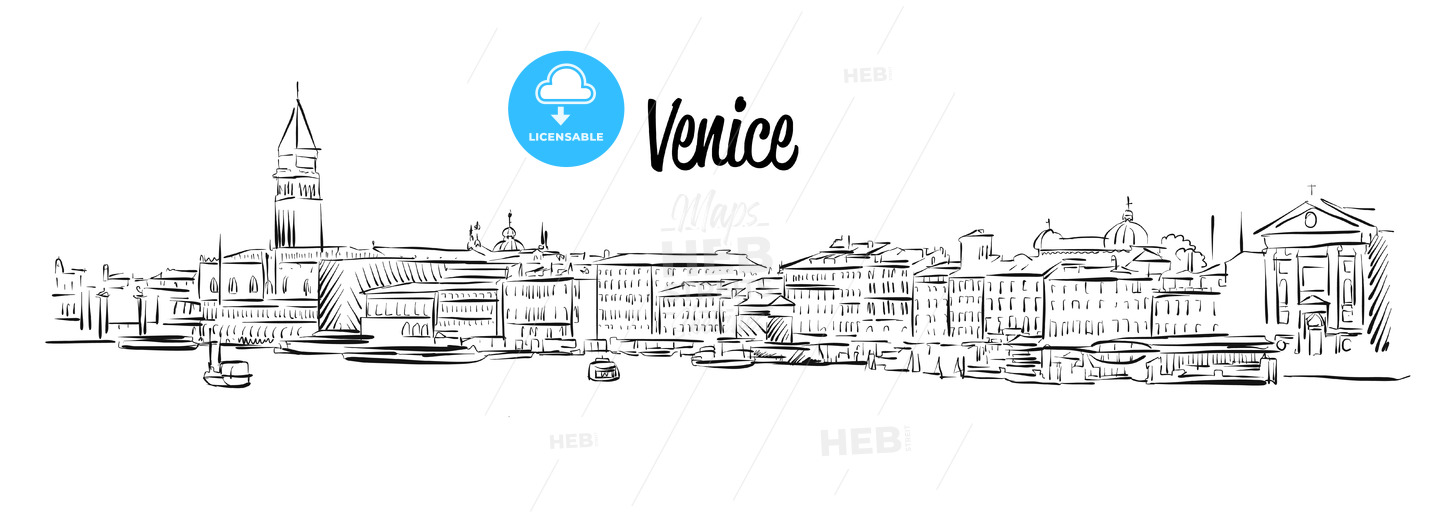Line Drawing Venice : Venice skyline italy hand drawn vector sketch hebstreits