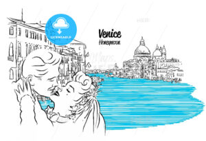 Venice Skyline with kissing Vintage Couple Sketch - Hebstreits
