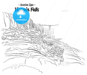 Victoria Falls Zimbabwe Landmark Sketch - Hebstreits