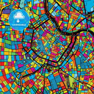 Vienna, Austria, Colorful Vector Map on Black - Hebstreits