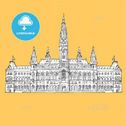 Vienna City Hall Vector Sketch