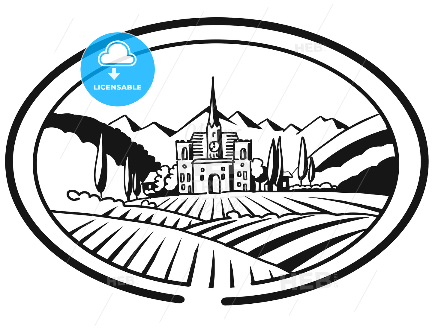 Vineyard Farm Cover Design for Bottle Labeling, Sketched - Hebstreits