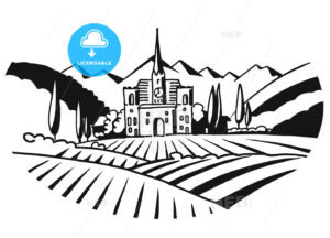 Vineyard Illustration Iconographic Black White Sketched - Hebstreits