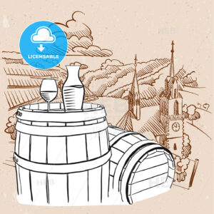 Vineyard Illustration with Sketched Barrel and Glass of Vine - Hebstreits