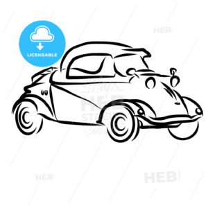Vintage Concept Car Outline Sketch - Hebstreits
